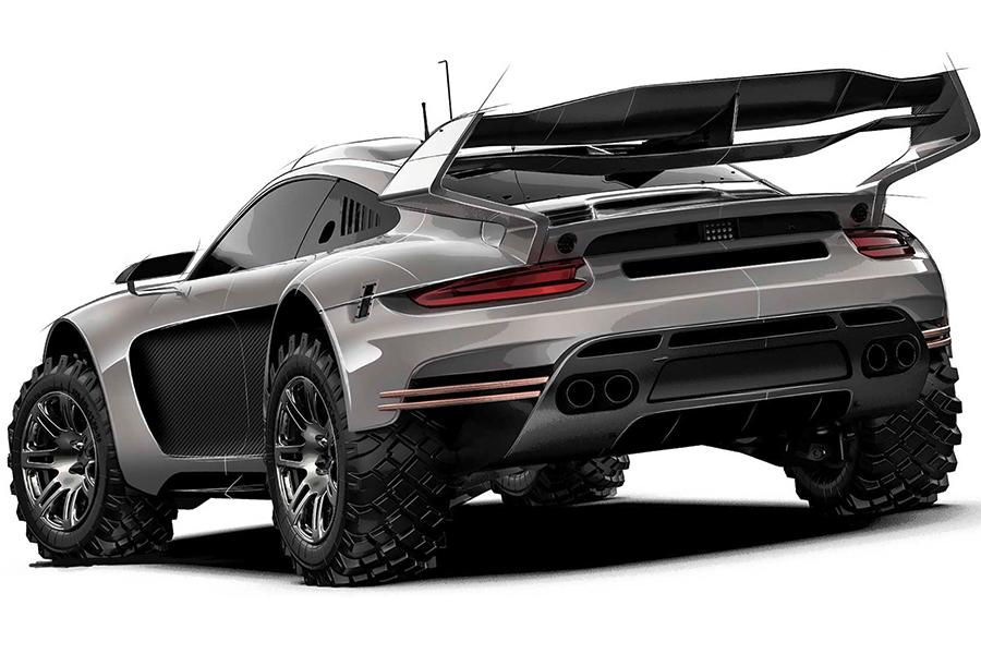 Robuste Porsche 911 Bodykit Rückansicht
