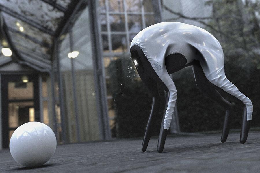 SAMSUNG Prototyp DOG-BOT spielt mit Ball
