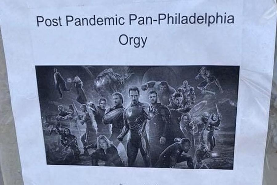 "Der Orgie-Flyer mit dem Thema ""Post-Pandemic Avengers"" des Paares wird viral"