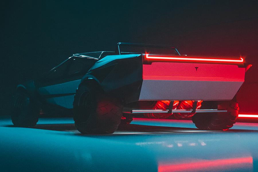 Tesla Cybertruck Neugestaltung der Rückansicht