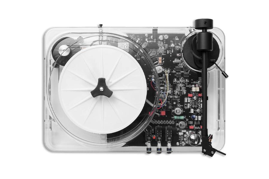 Transparenter Plattenspieler für das Getriebe