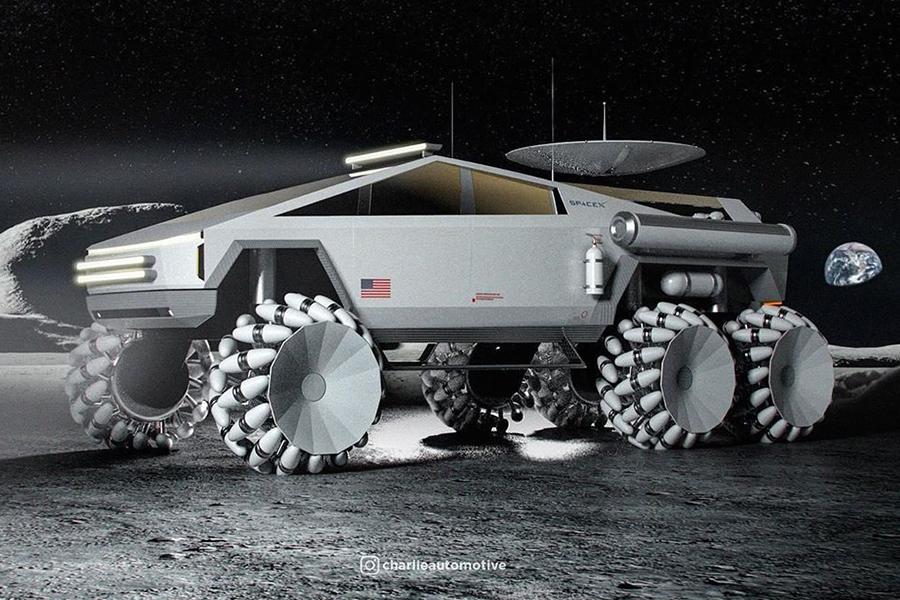 Cyber Truck für die Mond Seitenansicht