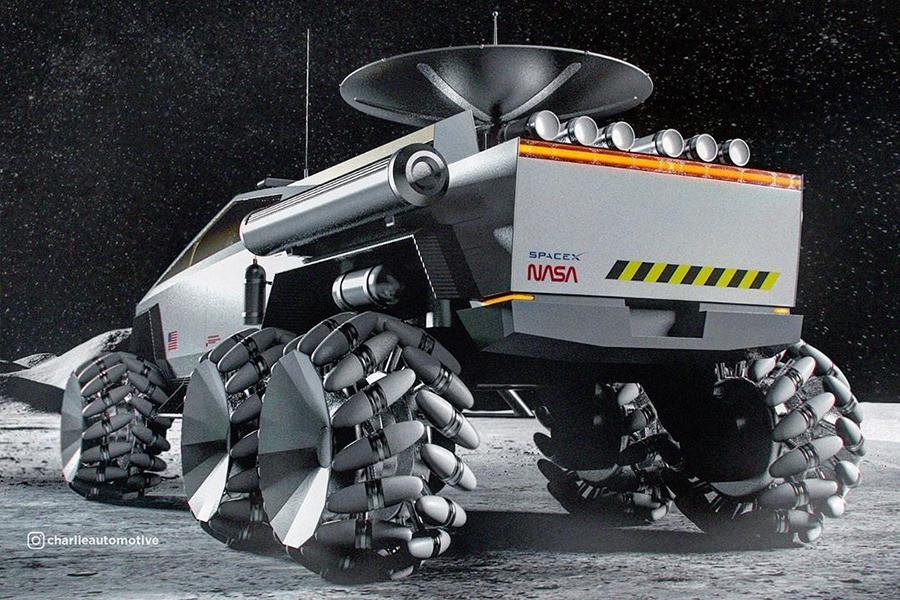 Cyber Truck für den Mond Rückansicht