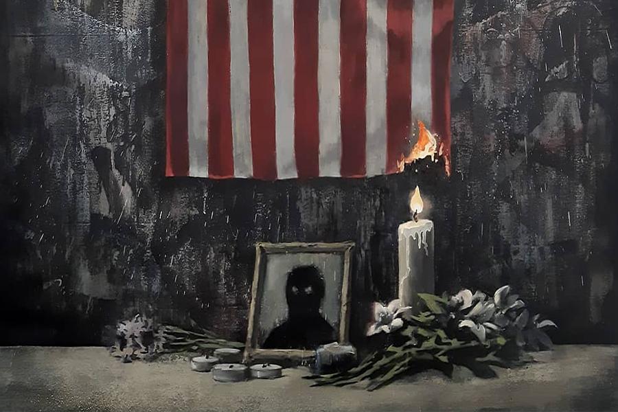 Banksy zahlt Tribut mit mutigen neuen schwarzen Leben Materie Kunstwerk