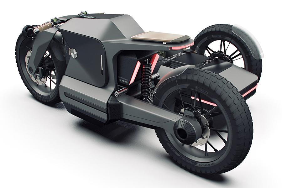 BMW Motorrad x ESMC Offroad Abenteuer E-Motorrad Rückansicht