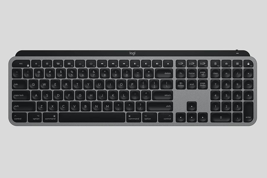 Logitech MX Master 3 und MX Keys für Mac Draufsicht als Tastatur