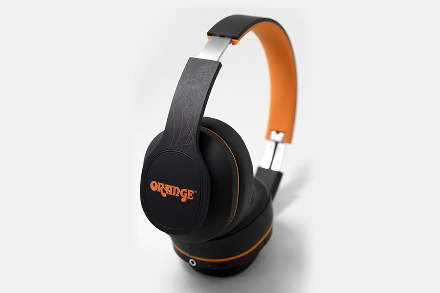 Oranges Crest-Kopfhörer verstärken den Klang und den Stil