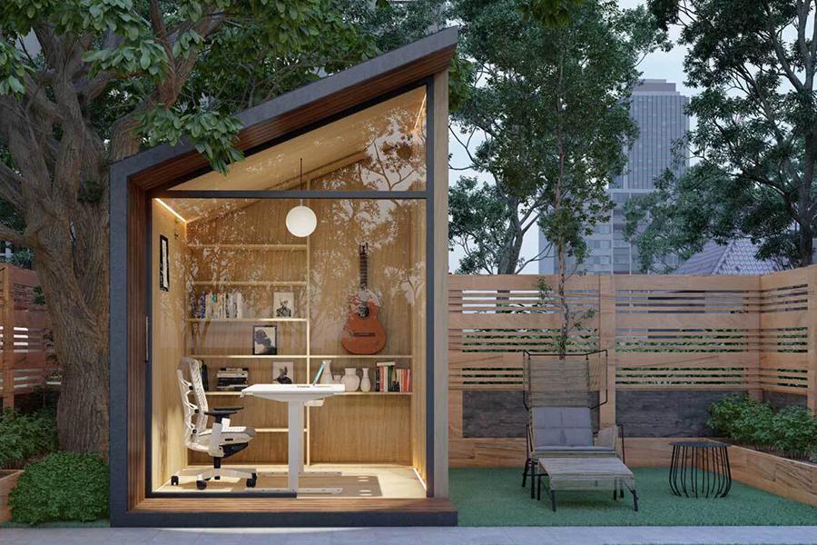 Zen Prefab Work Pod Gartenansicht