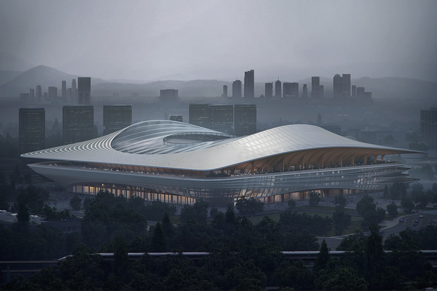 Schauen Sie sich zuerst das Insane Xi'an International Football Center an