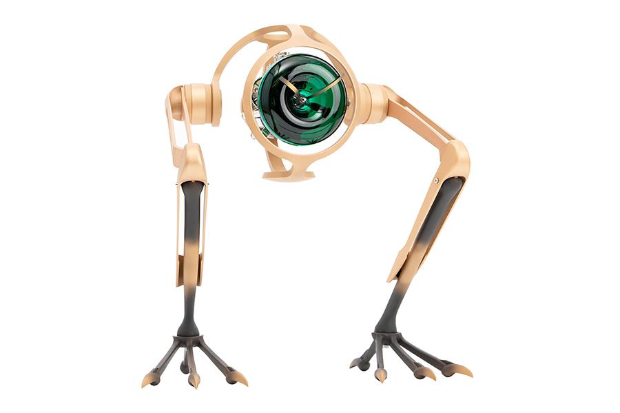T-REX Bronze Clock Seitenansicht mit Ständer