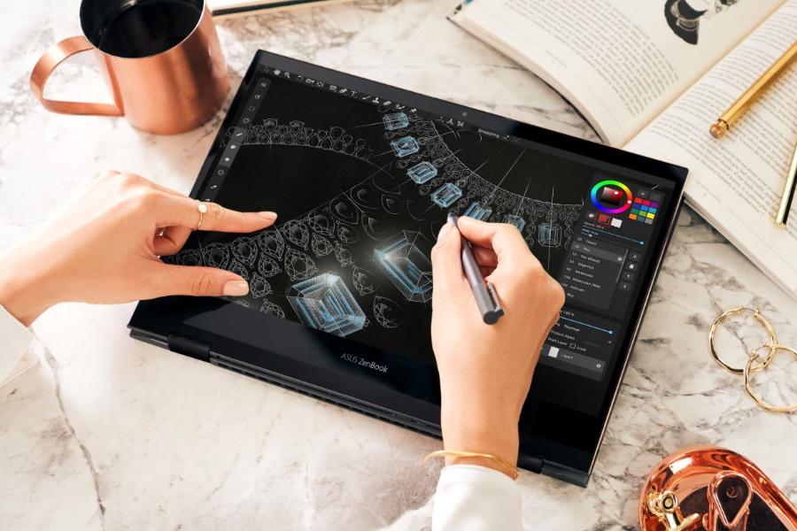 """Das ASUS ZenBook Flip S ist der """"dünnste OLED-Cabrio-Laptop der Welt""""."""