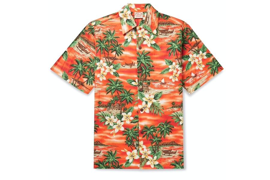 Gehen Sie barfuß Bora Bora bedrucktes Baumwollhemd