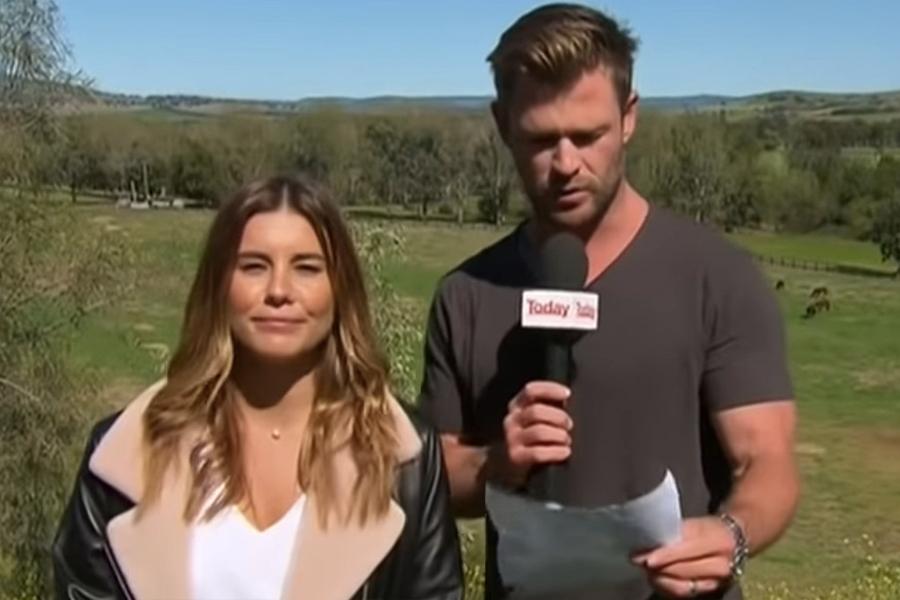 Chris Hemsworth Gatecrashes Wetterbericht Live on Air