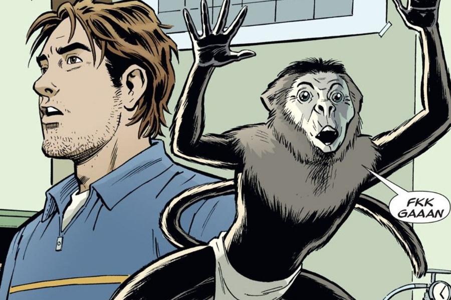 y das letzte Mann-Comic-Panel