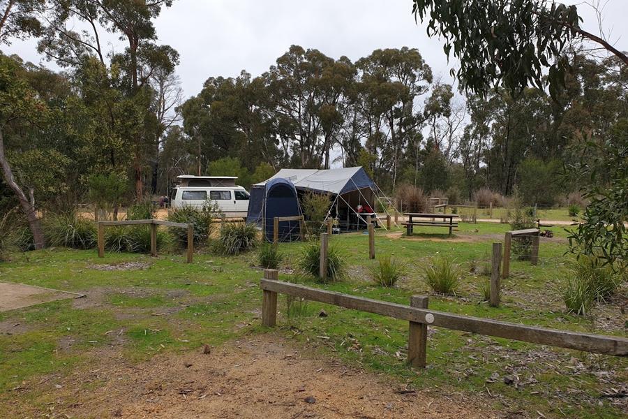 Weißer Van auf einem Campingplatz