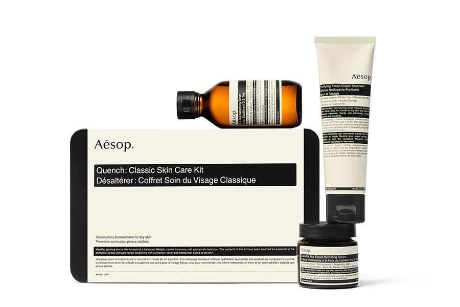 Weihnachtsgeschenkführer Groomer Aesop Product Quench Klassisches Hautpflegeset