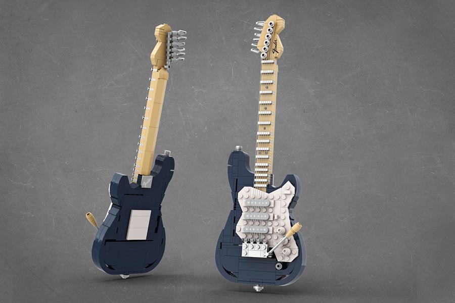 Lego Stratocaster blau