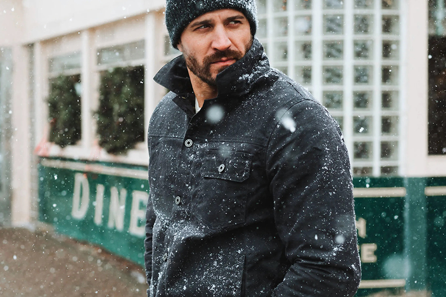 Flint and Tinder Flannel-lined Waxed Trucker Jacket Christmas Gift Guide Stylish Man