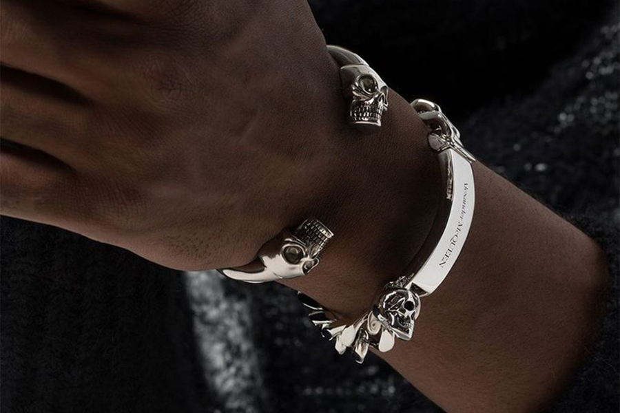 Alexander McQueen Twin Skull bangle-style bracelet Christmas Gift Guide Stylish Man