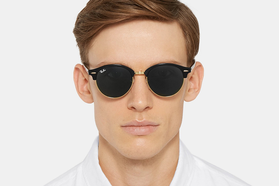 Ray-Ban Clubmaster Round-Frame Acetate and Gold-Tone Polarised Sunglasses Christmas Gift Guide Stylish Man
