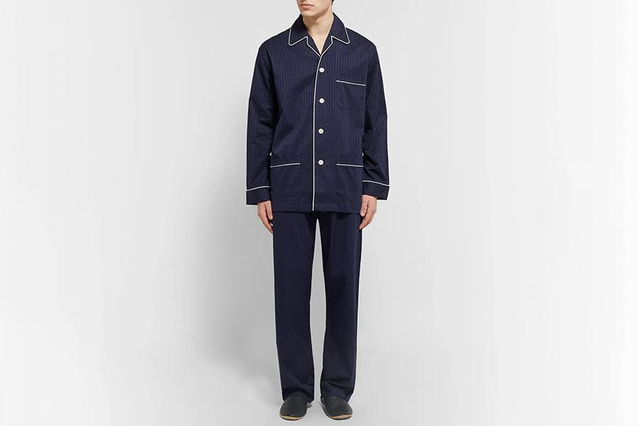 Derek Rose Royal Pin-Dot Cotton-Jacquard Pyjama Set Christmas Gift Guide Stylish Man