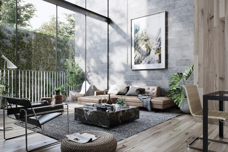 masculine living room rock the view