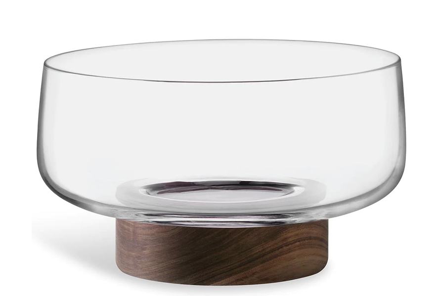 City glass bowl and walnut base