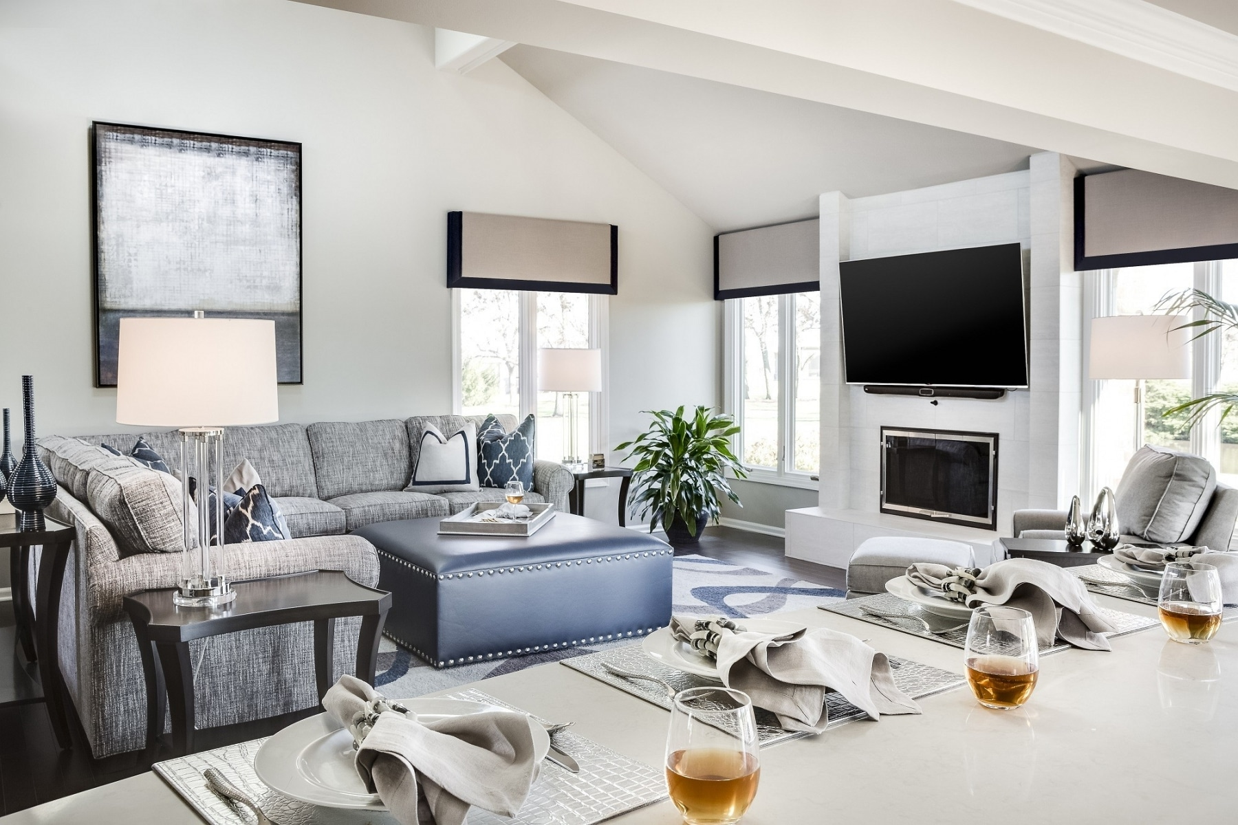 masculine living room decor grey couch