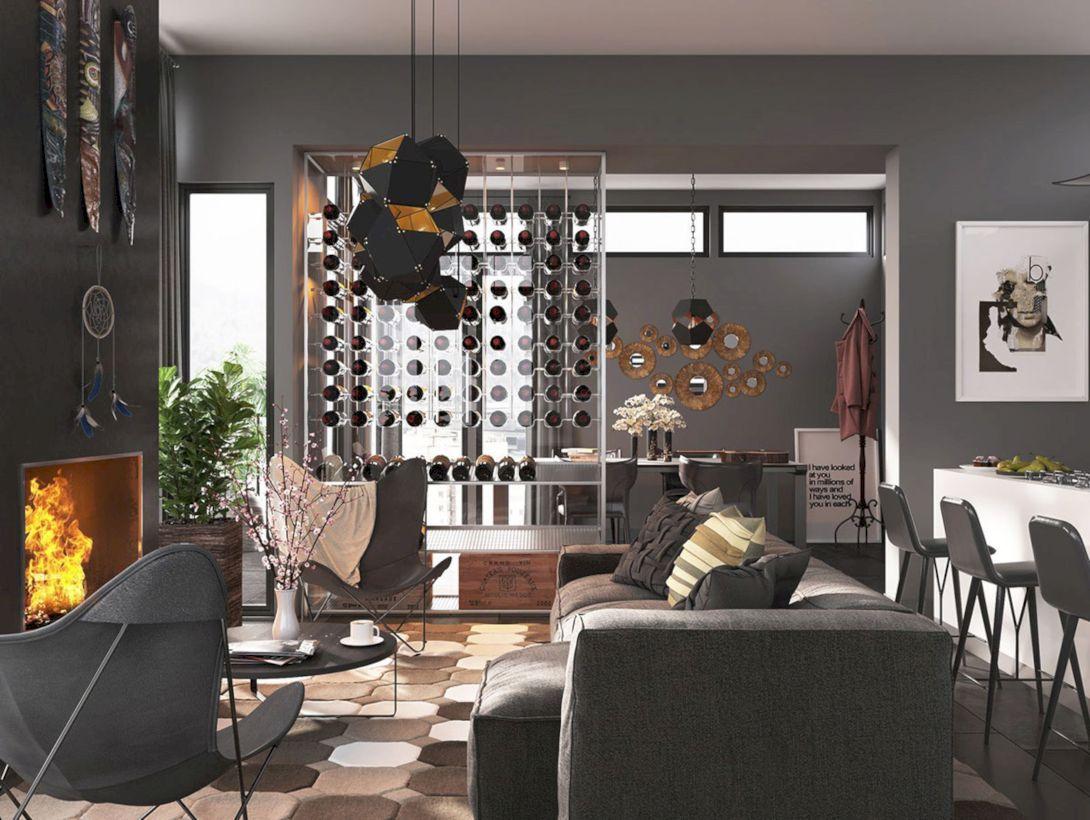 masculine dining room modern wine cellar