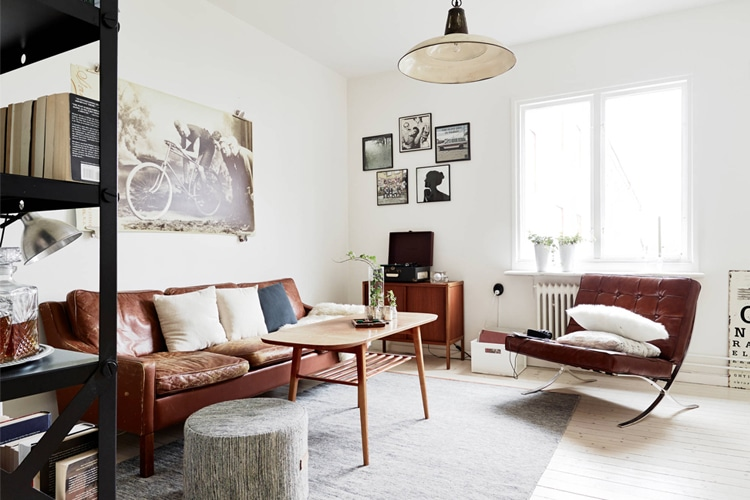 masculine living room pillow on the sofa