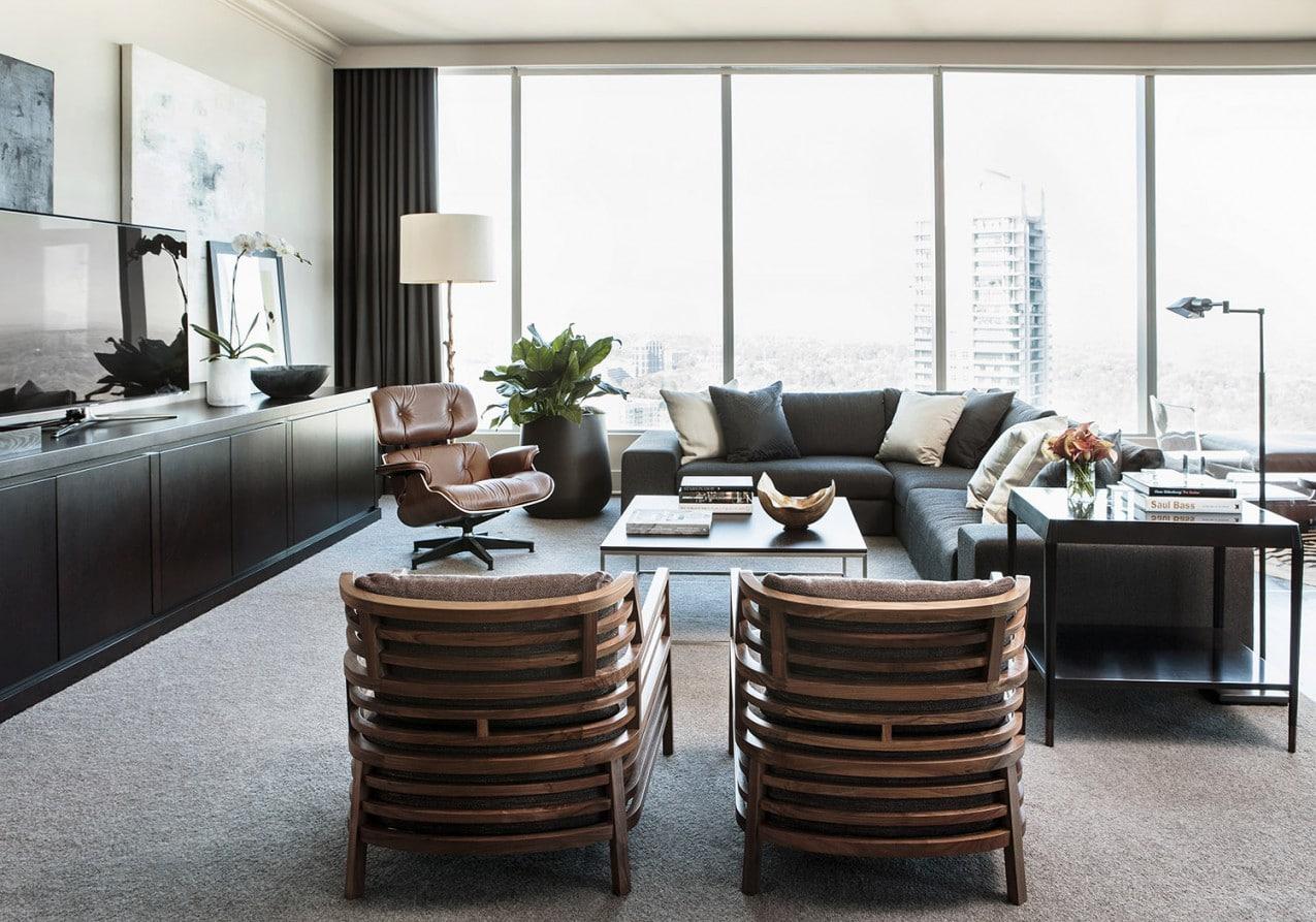 masculine living room ritz carlton residences atlanta