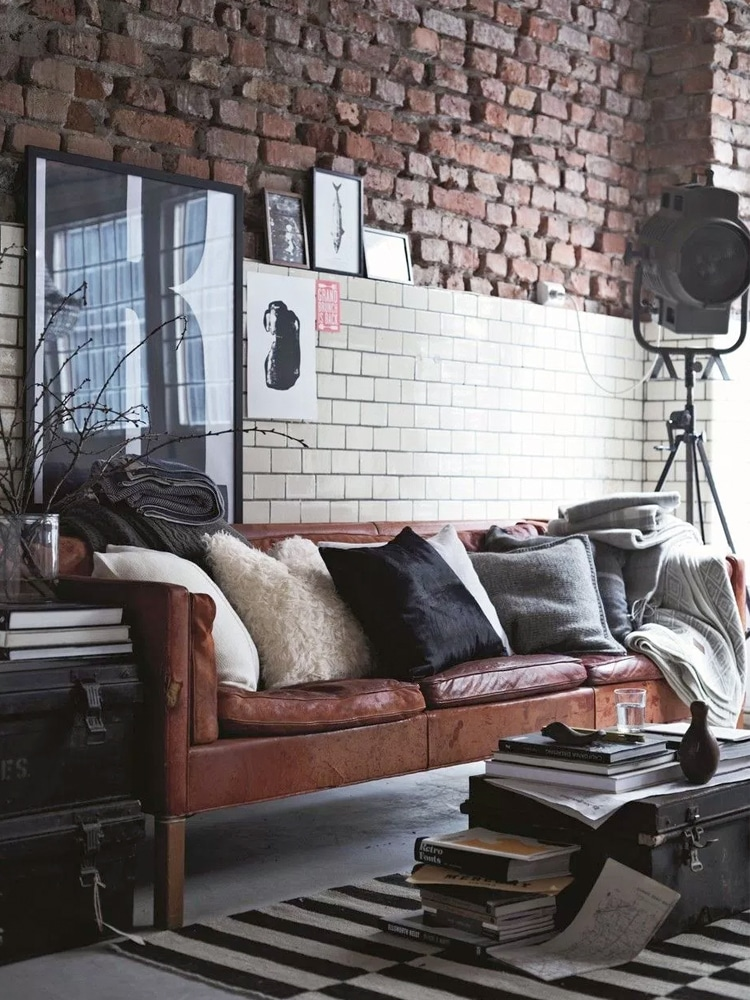 masculine living room sofa pillow and trunk