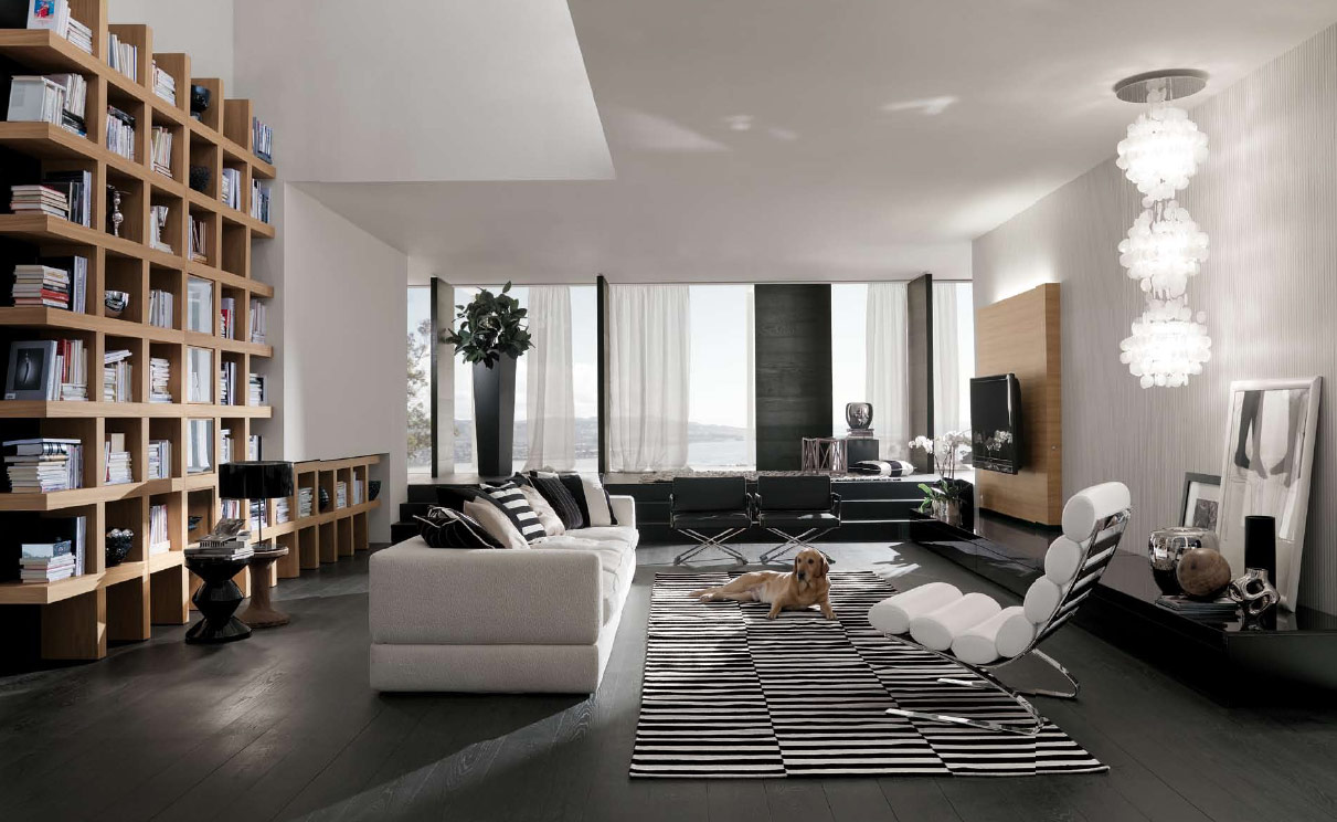 masculine living room with bookshelf