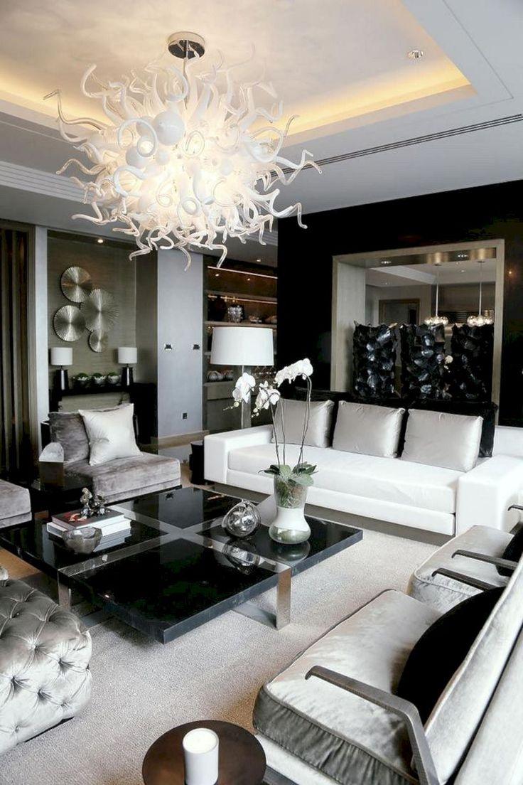 masculine black and white living room