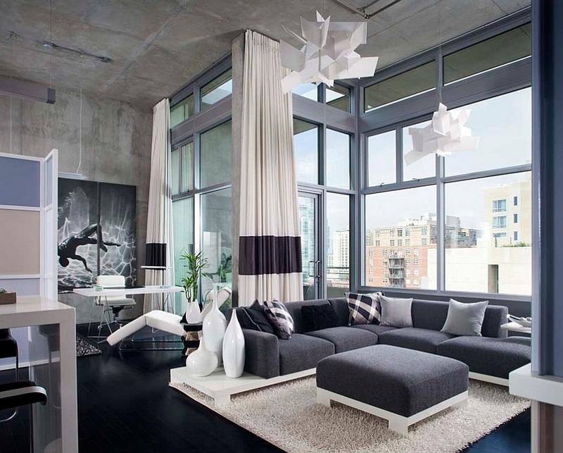 masculine modern gray living room
