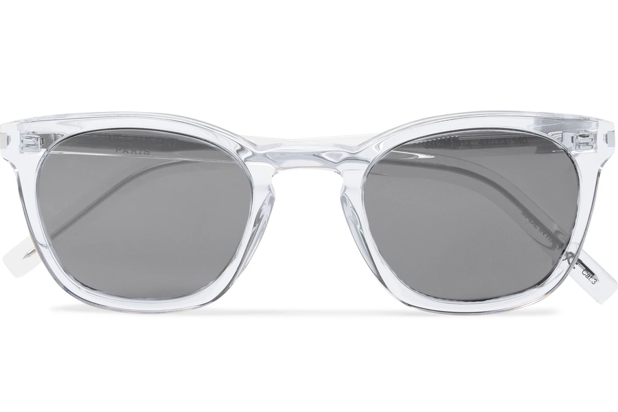 SAINT LAURENT D-Frame Sonnenbrille aus Acetat und Silber