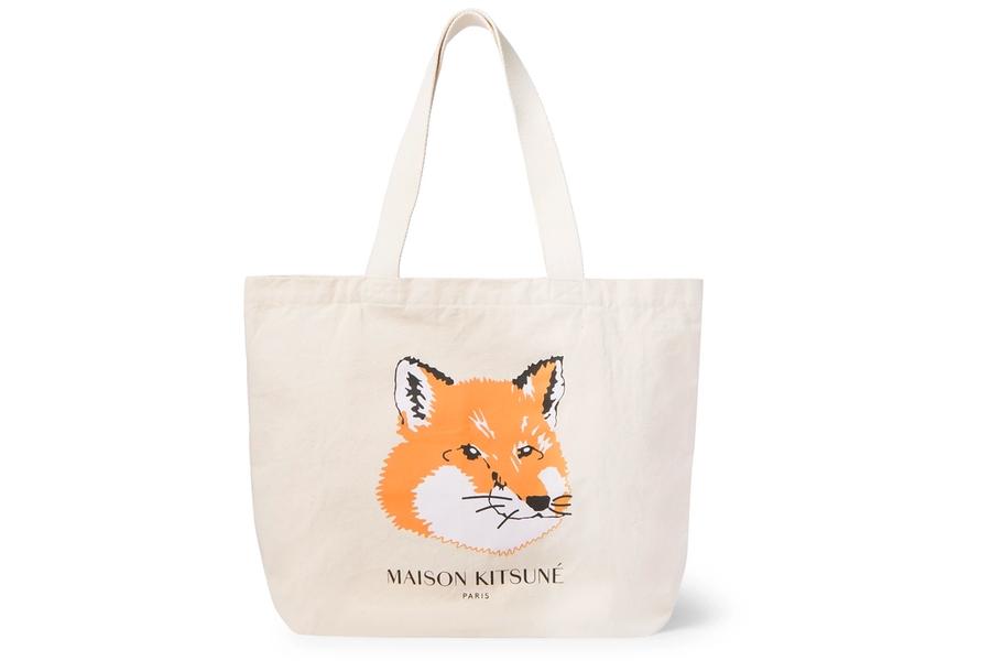 Maison Kitsune Einkaufstasche aus Baumwolle und Canvas mit Logo-Print