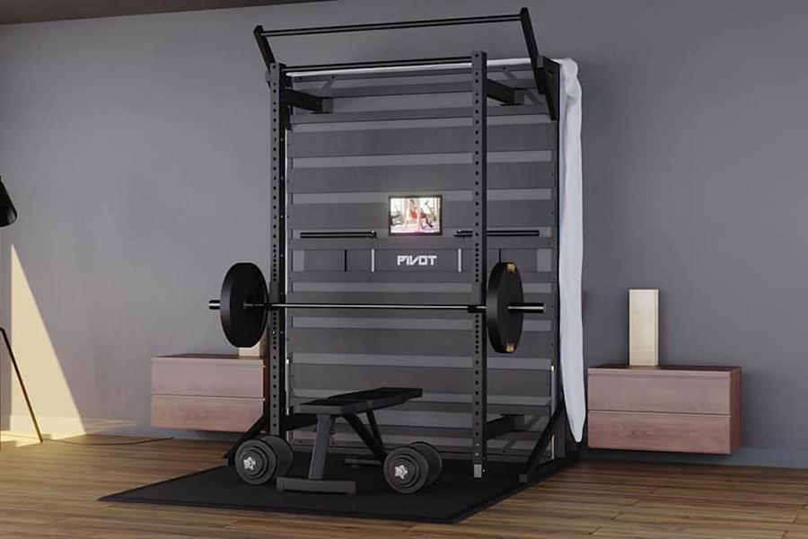 Geniales Schwenkbett lässt sich in ein Heim-Fitnessstudio ausklappen