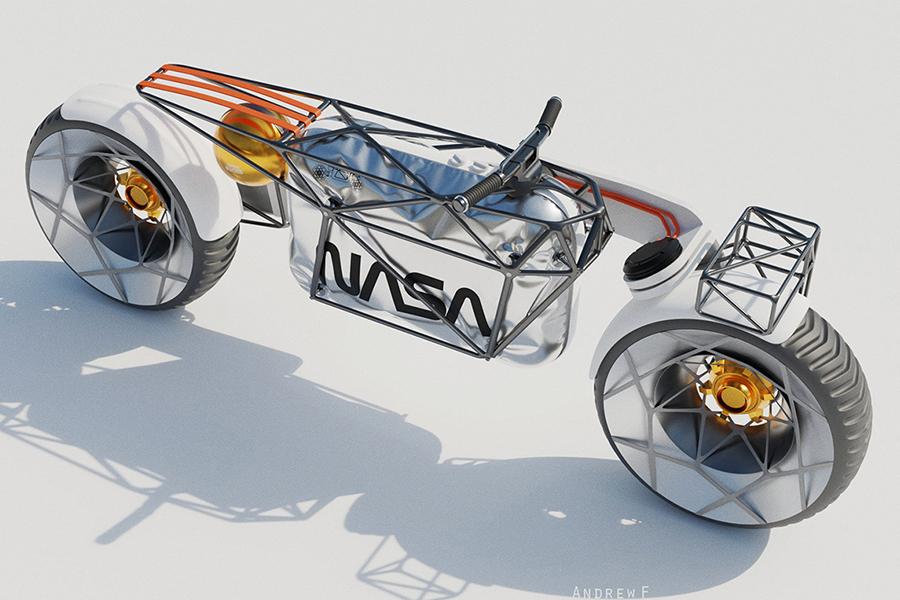 Draufsicht auf das NASA-Motorradkonzept