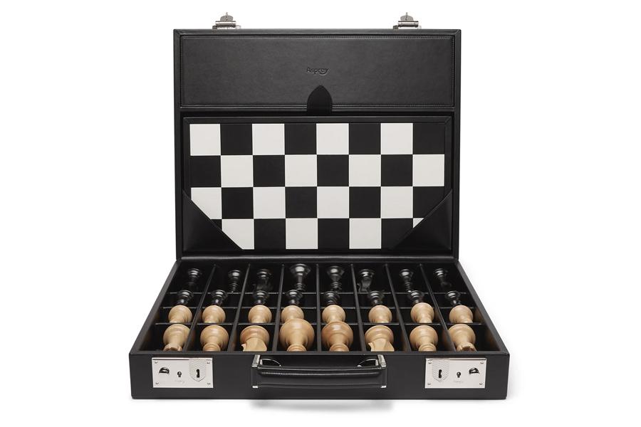 Beste Schachspiele - Asprey Hanover Leather Chess Case