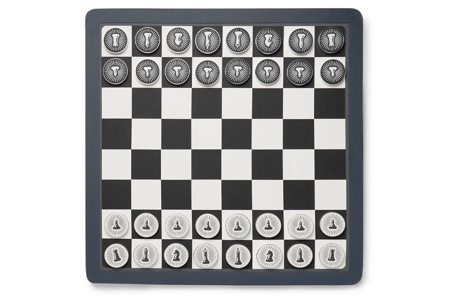 Beste Schachspiele - William & Son Wende-Lederprüfer und Schachbrett