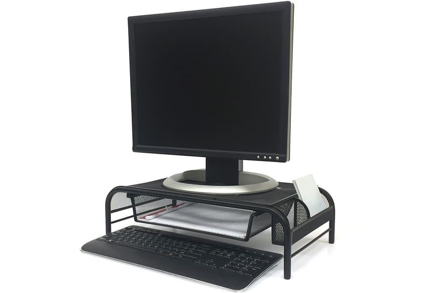Mind Reader Erhöhen Sie den Metallgitter-Monitorständer mit Schublade, schwarz