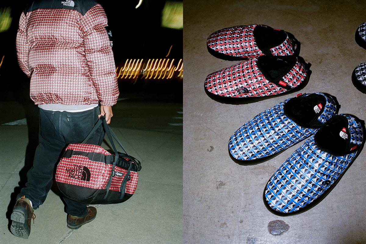 Supreme x die Nordwand rote und blaue Schuhe